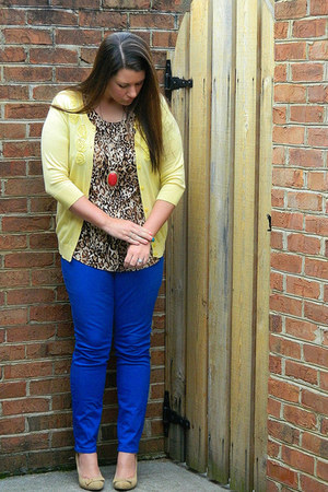 yellow Target cardigan - blue Old Navy pants - beige Forever21 heels