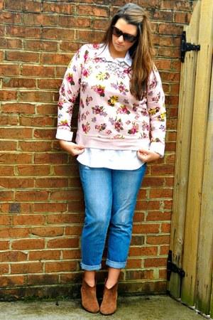 light pink Target sweatshirt - camel Nine West boots - blue Old Navy jeans
