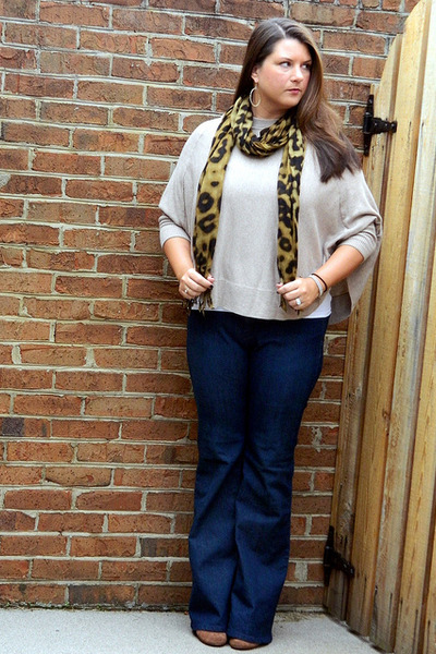 camel Nine West boots - blue Loft jeans - black The Limited scarf
