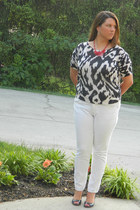 red Etsy necklace - white Old Navy jeans - Loft top - navy Nine West wedges