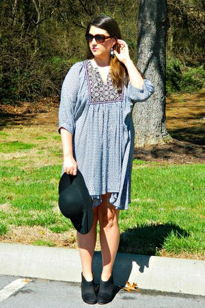 black Target boots - No Bella Grace dress - black Aeropostale hat