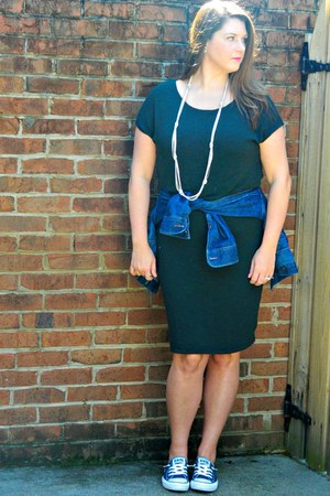 blue Old Navy jacket - forest green three dots dress - blue Converse sneakers