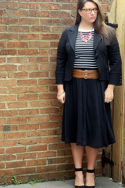 Cabi blazer - Loft shirt - Old Navy skirt - Zara heels - Vestique necklace