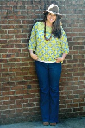 yellow Bag A Bargain top - navy Loft jeans - dark khaki Target hat