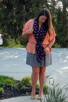 navy francescas scarf - peach francescas shirt - blue francescas skirt