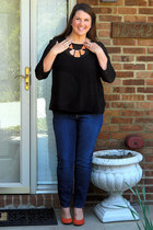 black Francescas Boutique top - blue Loft jeans