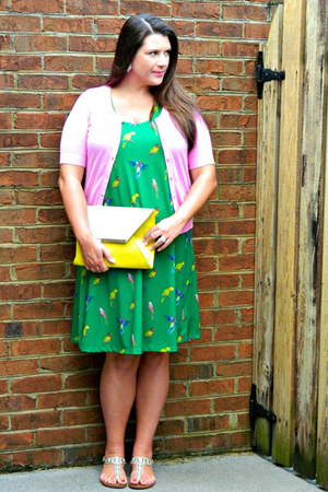 silver Target sandals - green Gwynnie Bee dress - yellow Lulus bag