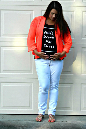 white Old Navy jeans - carrot orange Gwynnie Bee jacket - black kohls t-shirt