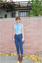 Forever 21 top - boots Grey City boots - high waisted BDG jeans