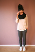 white Converse shoes - light pink Nordstrom shirt - gray Forever 21 pants