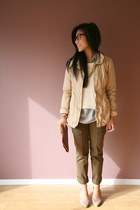 turquoise blue Loft blouse - beige Old Navy jacket - army green Loft pants
