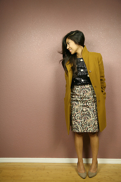JCrew skirt - Aritzia coat - JCrew top