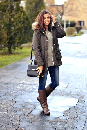 brown CCC boots - navy jennyfer jeans - army green Forever21 jacket
