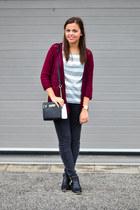 brick red Stradivarius sweater - black CCC boots - black Primark bag