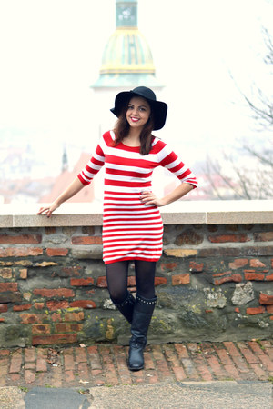 black CCC boots - red H&M dress - black OASAP hat