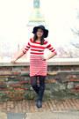 Black-ccc-boots-red-h-m-dress-black-oasap-hat
