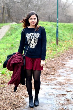 black OASAP sweater - black Primark bag - crimson River Island skirt