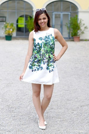 white OASAP dress - white c&a sunglasses - white Deichmann pumps