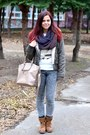 Brown-ccc-boots-dark-khaki-jennyfer-coat-gray-pull-bear-jeans