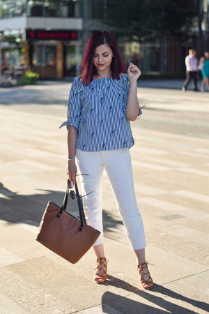 brown Parfois bag - blue Sinsay blouse - white Stradivarius pants