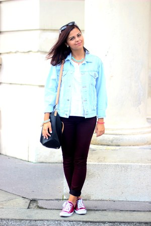 sky blue Primark jacket - crimson new look jeans - black Parfois bag