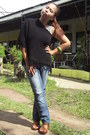 Navy-jeans-black-from-baguio-cape-tawny-parisian-wedges