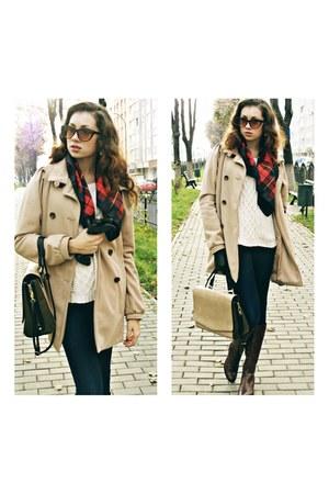 army green Zara bag - dark brown boots - camel Vero Moda coat - navy jeans
