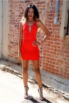 red scuba shopakira dress - black rhinestone Zigi Soho heels
