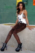 black spikes Jeffrey Campbell boots - white skulls brandy melville shirt