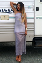 gold shark tooth H&M necklace - light purple maxi dress Nasty Gal dress