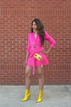 hot pink industrial Off White belt - gold booties Jeffrey Campbell boots
