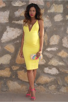 yellow bodycon Oh My Love dress - hot pink clutch River Island bag