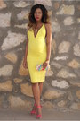 Yellow-bodycon-oh-my-love-dress-hot-pink-clutch-river-island-bag