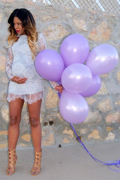 periwinkle lace For Love & Lemons dress - neutral cut out Zara heels