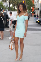 beige satchel LuLus bag - aquamarine bodycon LuLus dress