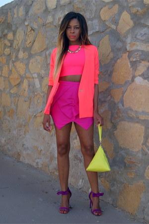 hot pink neon asos blazer - yellow triangle Front Row Shop bag
