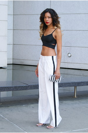 black cropped Topshop top - white lucite Zara bag - white striped Topshop pants