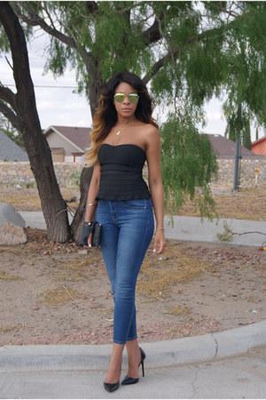 black Kristen Jessica bag - blue ripped asos jeans - black bustier Nasty Gal top