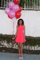 hot pink neon H&M dress - white sandals H&M heels