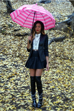 black croc Topshop blazer - black chain Jessica Buurman boots