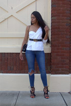 one shouldered Missguided blazer - leather Gucci belt