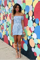 white gladiator Jeffrey Campbell heels - sky blue skater dress Motel Rocks dress