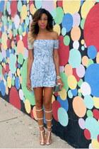 white gladiator Jeffrey Campbell heels - sky blue skater dress Motel Rocks dress