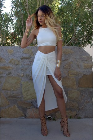 white draped Lilys Kloset dress