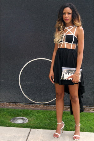 black caged Reverse dress - white clear Nasty Gal bag - white strappy Zara heels