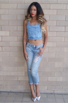 light blue boyfriend Gap jeans - light blue dungaree MissguidedUK top