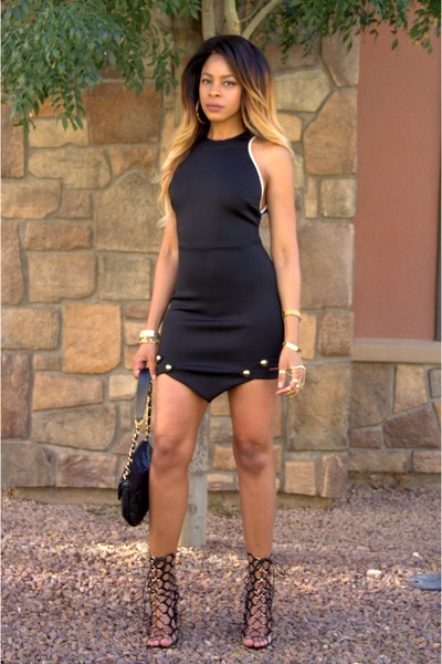 black cut out Asilio dress - black lace up Shiekh Shoes heels