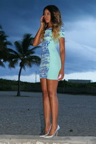 blue bodycon Nasty Gal dress - silver hologram Jeffrey Campbell pumps