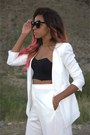 White-boyfriend-forever-21-blazer-white-tailored-nasty-gal-shorts