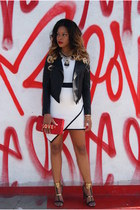 black leather Nasty Gal jacket - white asymmetrical 2b bebe dress
